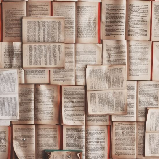 An artistic picture of opened books
